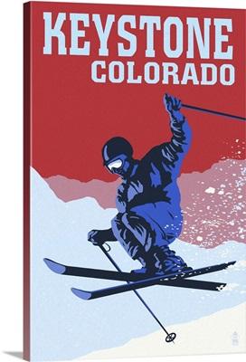 Keystone, Colorado - Colorblocked Skier: Retro Travel Poster