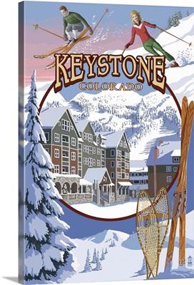 Keystone, Colorado Montage: Retro Travel Poster