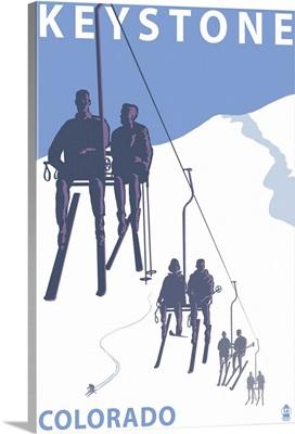 Keystone, Colorado Ski Lift: Retro Travel Poster