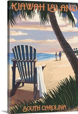 Kiawah Island, South Carolina - Adirondack and Palms: Retro Travel Poster