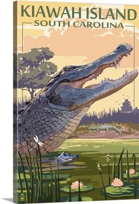 Kiawah Island, South Carolina - Alligator Scene: Retro Travel Poster