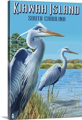 Kiawah Island, South Carolina - Blue Herons: Retro Travel Poster