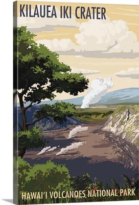 Kilauea Iki Crater, Hawaii Volcanoes National Park: Retro Travel Poster