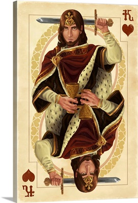 King of Hearts - Playing Card: Retro Art Poster