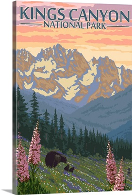 Kings Canyon National Park - Bear Family and Spring Flowers: Retro Travel Poster