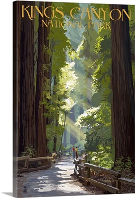 Kings Canyon National Park, California - Pathway and Hikers: Retro Travel Poster