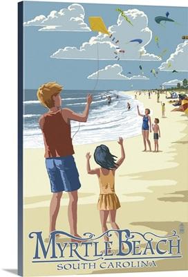 Kite Flyers - Myrtle Beach, South Carolina -  : Retro Travel Poster