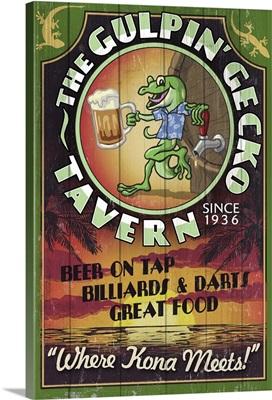 Kona, Hawaii - Gecko Tavern Vintage Sign: Retro Travel Poster