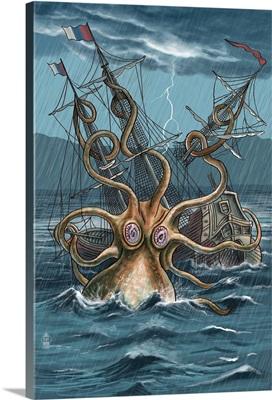 Kraken Attacking Ship: Retro Poster Art
