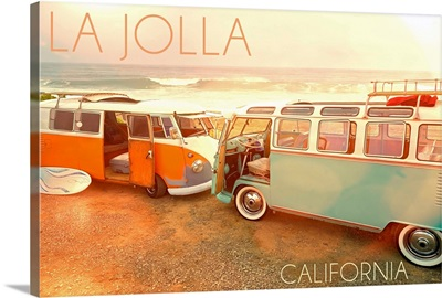 La Jolla, California, VW Vans on Beach