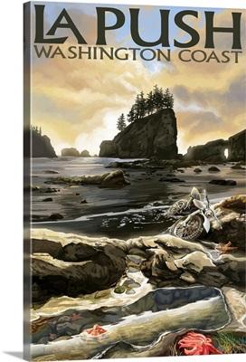 La Push Beach and Motorcycle, Washington: Retro Travel Poster