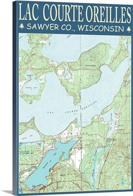 Lac Courte Oreilles Chart - Sawyer County, Wisconsin: Retro Travel Poster