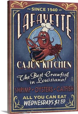 Lafayette, Louisiana - Cajun Kitchen Vintage Sign: Retro Travel Poster