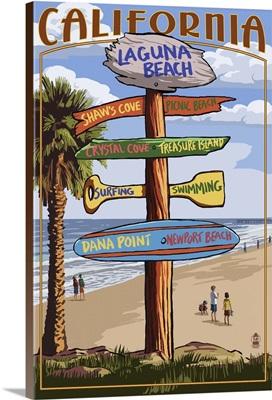 Laguna Beach, California - Destination Sign: Retro Travel Poster