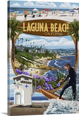 Laguna Beach, California - Montage Scenes: Retro Travel Poster