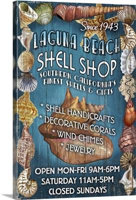 Laguna Beach, California - Shell Shop Vintage Sign: Retro Travel Poster