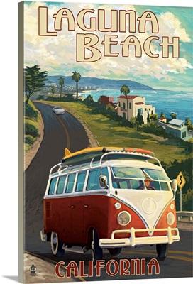 Laguna Beach, California - VW Van Cruise: Retro Travel Poster