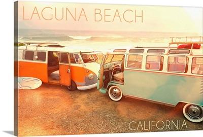 Laguna Beach, California, VW Vans on Beach