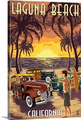 Laguna Beach, California - Woodies and Sunset: Retro Travel Poster