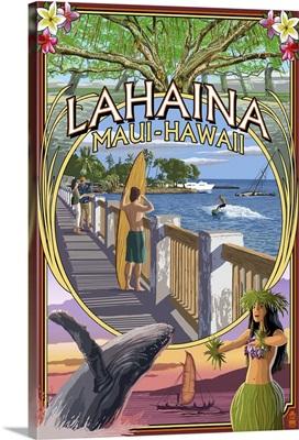 Lahaina, Maui, Hawaii - Town Scenes Montage: Retro Travel Poster