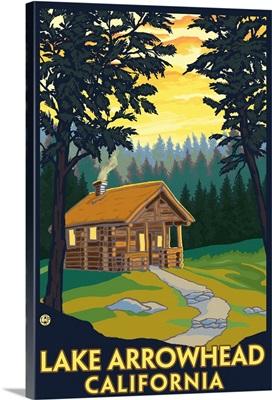 Lake Arrowhead, California -Cabin in the Woods: Retro Travel Poster