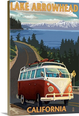 Lake Arrowhead - California - VW Van Coastal: Retro Travel Poster