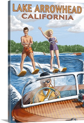 Lake Arrowhead - California - Waterskiers: Retro Travel Poster