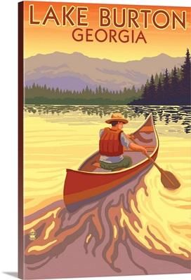 Lake Burton, Georgia - Canoe Sunset: Retro Travel Poster