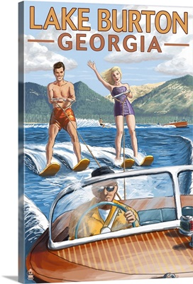 Lake Burton, Georgia - Water Skiing Scene: Retro Travel Poster