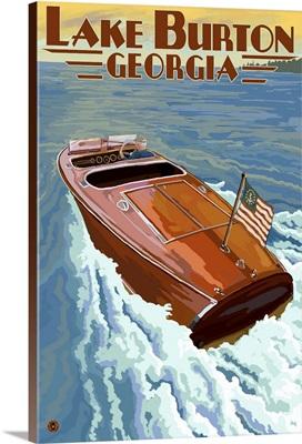Lake Burton, Georgia - Wooden Boat Scene: Retro Travel Poster