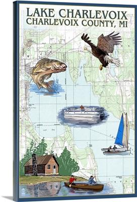 Lake Charlevoix, Michigan - Nautical Chart: Retro Travel Poster