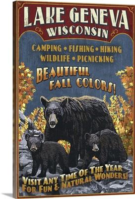 Lake Geneva, Wisconsin - Black Bears Vintage Sign: Retro Travel Poster