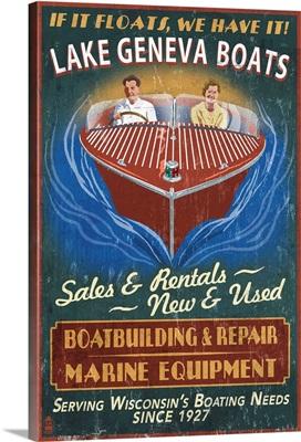Lake Geneva, Wisconsin - Boat Shop Vintage Sign: Retro Travel Poster