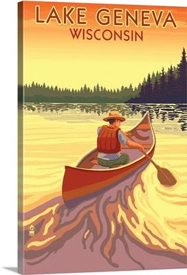 Lake Geneva, Wisconsin - Canoe Scene: Retro Travel Poster