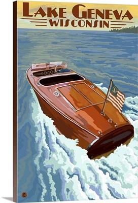 Lake Geneva, Wisconsin - Chris Craft Wooden Boat: Retro Travel Poster