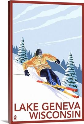 Lake Geneva, Wisconsin - Downhill Skier: Retro Travel Poster