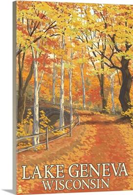 Lake Geneva, Wisconsin - Fall Colors: Retro Travel Poster