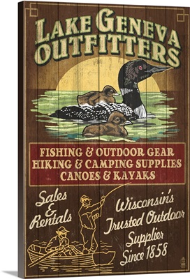 Lake Geneva, Wisconsin - Loon Outfitters: Retro Travel Poster