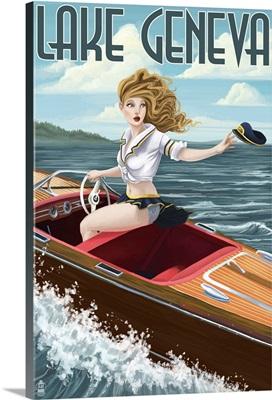 Lake Geneva, Wisconsin - Pinup Girl Boating: Retro Travel Poster