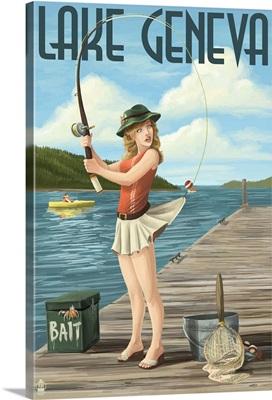 Lake Geneva, Wisconsin - Pinup Girl Fishing: Retro Travel Poster
