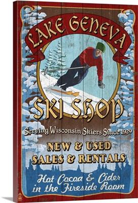 Lake Geneva, Wisconsin - Ski Shop Vintage Sign: Retro Travel Poster