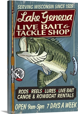 Lake Geneva, Wisconsin - Tackle Shop Bass Vintage Sign: Retro Travel Poster