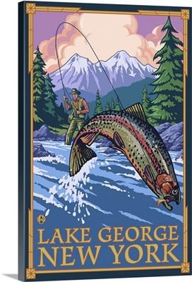 Lake George, New York, Angler Fly Fishing