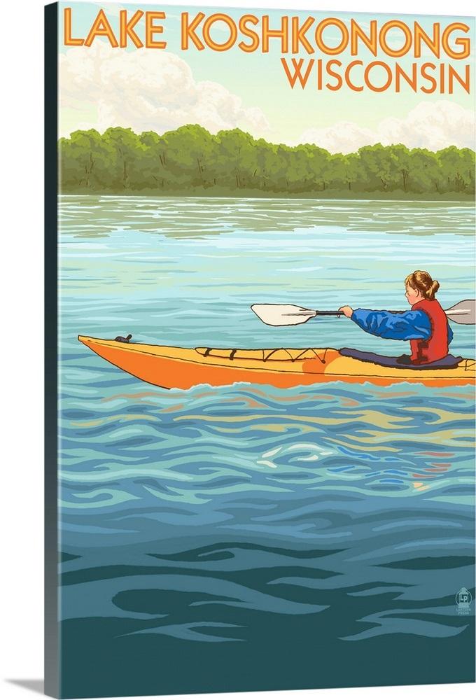 Lake Koshkonong, Wisconsin - Water Skiing Scene (20x30