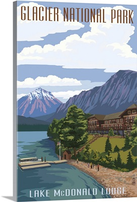 Lake McDonald Lodge - Glacier National Park, Montana: Retro Travel Poster