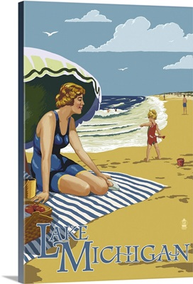 Lake Michigan - Beach Scene: Retro Travel Poster