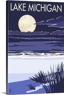 Lake Michigan - Full Moon Night Scene: Retro Travel Poster