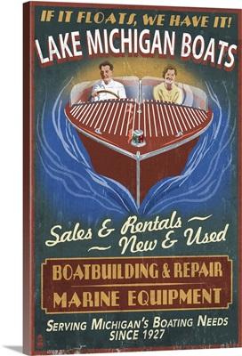 Lake Michigan, Michigan - Boat Shop Vintage Sign: Retro Travel Poster