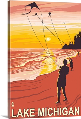 Lake Michigan - Sunset Kite Flyers: Retro Travel Poster