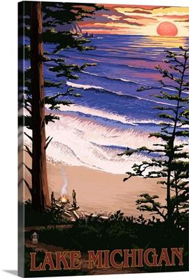 Lake Michigan - Sunset on Beach: Retro Travel Poster
